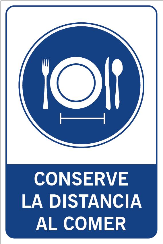 Conserve la distancia al comer